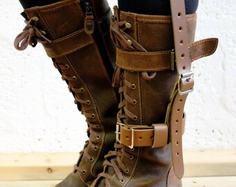 Unisex Leather High Boot Garter - Brown - steampunk - burning man - festivals - apocalypse - mad max, Please read Description for size