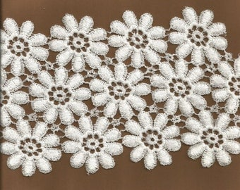 Wide White Flower Lace Trim   1 yard and 5 inches