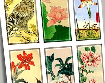 Printable Digital Art:  1 x 2 Vintage Asian Art  Birds Japanese Chinese Dominoes Craft Supplies Scrapbooking Paper Crafts Stationery CS 65