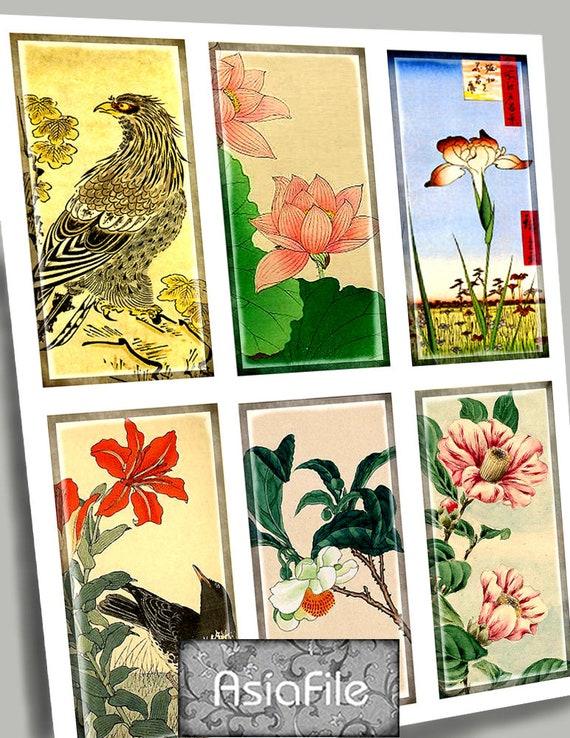 Printable Digital Art:  1 x 2 Vintage Asian Art  Birds Japanese Chinese Dominoes Craft Supplies Scrapbooking Paper Crafts Stationery CS 65