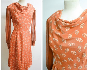 1930s 40s Terracotta brown orange printed silk cowl neck dress / 1940s 30s ochre sheer sleeve dress - M