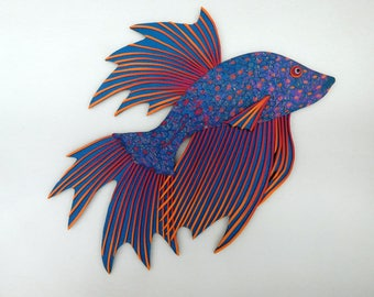 Betta Fighting Fish Polymer Clay Wall Art 3D in Rainbow Colors