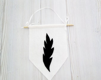 Feather banner , felt flag , feather decor , wall hanging , black and white wall art , black and white room, kids room decor