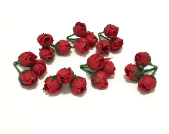 21 Tiny RED Mini Rose Buds - Very SMALL Flowers, Artificial Flowers, Silk Flowers, Flower Crown, Millinery, Wedding Flowers, Hair Accessory