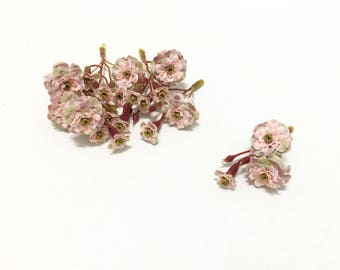 Primroses - TWO Sets Artificial Dusty Pink Pom Pom Roses - SMALL FLOWERS - Silk Flowers