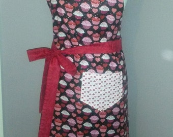 Ladies Full Body Bib Apron Retro Hostess Apron Cup Cakes Valentines Gift Ready-Made