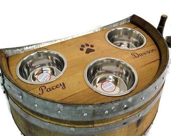 TONDE - Marmorata - 3 Bowl Oak Wine Barrel Elevated Dog Bowls - 100% recycled