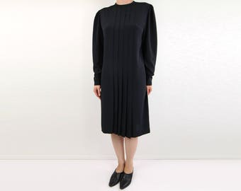 VINTAGE Black Shift Dress Pleated Longsleeve