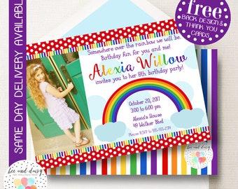 Rainbow Birthday Invitation, Rainbow Invitation, Rainbow Party, Girl First Birthday, Girl Birthday, Printable Rainbow Invite, BeeAndDaisy