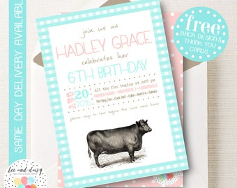 Girls Farm Invitation, Pink Farm Birthday Invitation, Farm Birthday Party, Farm Party Invitation, Farm Baby Shower BeeAndDaisy