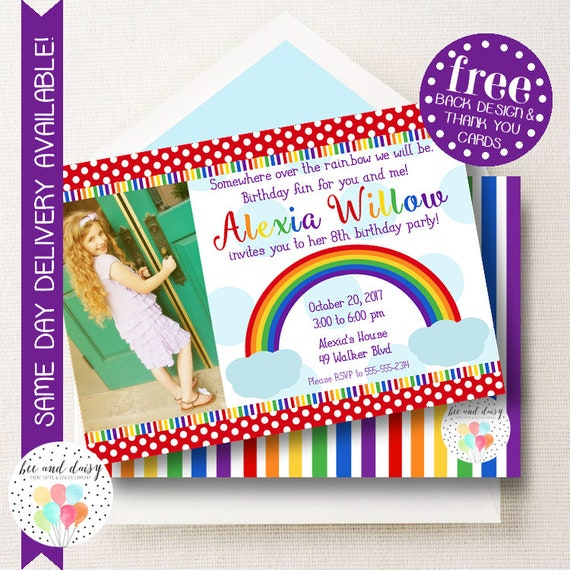 Rainbow birthday invitation rainbow invitation rainbow party girl il570xn filmwisefo