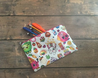 Pencil Case/Cosmetic Bag/ Gadget Case -  Shopkins - Birthday Gift - Birthday Present- Christmas gift, Inexpensive Christmas Gift