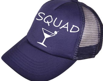 custom SQUAD MARTINI hats - bachelorette party hats - wedding party baseball caps - baseball hats - trucker style - beach summer caps