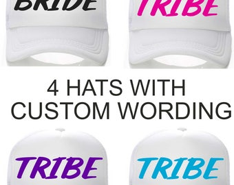 Set of 4 TRIBE hats - Bachelorette Tribe hats - Bridesmaid , Bride - Bridal Party Baseball caps - colorful bright baseball caps - beach
