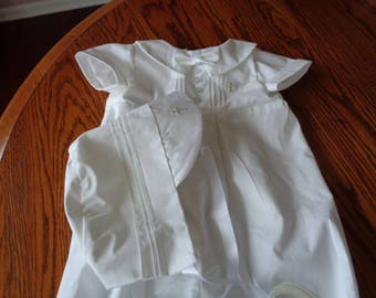 Baby Boy Baptism Romper With Bonnet