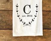 personalized tea towel, monogrammed tea towel, wedding gift, gift for newlyweds, custom tea towel, flour sack tea towel, kitchen decor
