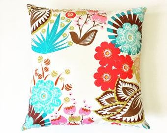 "floral decorative throw pillow cover / red brown teal pink / 18"" x 18""  / blue and cream ticking / reversible / dorm decor / fall home decor"