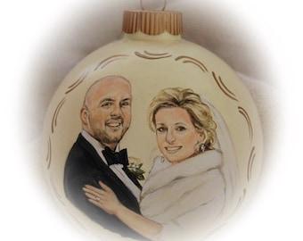 Wedding Portrait Painting Ornament - Custom Portraits on 4 inch Glass Ornament - Christmas ornament