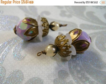 SALE BD452 VINTAGE Style capped pendant dangle Iridescent Lavender Acrylic Retro Bead with stacked aged beadcaps and faux Pearl 2 pcs.