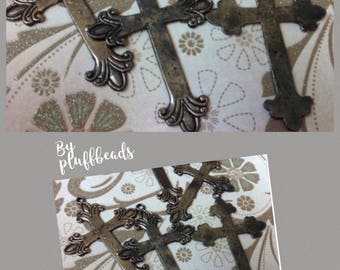 Vintage Style Aged Silver plated rustic crosses 2 pcs.