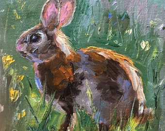 "Bunny Portrait, Rabbit Painting, Original Oil Painting, Animal Portrait Small Painting, Small framed Painting, 6X6"",Wild Life Art, Gifting"