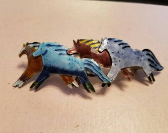 Vintage Hair Barrette French Clip Herd of Wild Horses Enamel 1980s Accessory