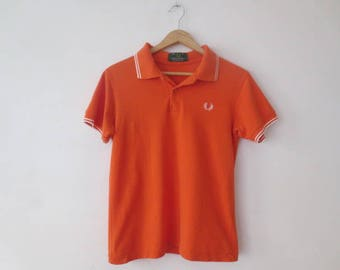 Vintage '80s/'90s Fred Perry Classic Twin Tipped Polo, Orange / White, Small / 36 Inch Chest
