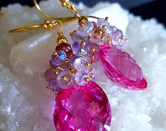 Pink Topaz Rose de France Gemstone Cluster Statement Earrings Gift for Her