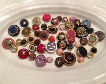 Gold Shank Buttons - 50 assorted colours with metallic gold shank buttons
