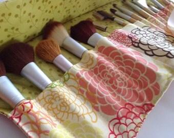 "Deluxe Makeup Brush Roll-Up Organizer, Travel Brush Roll, Vinyl Lined Brush Holder, Fresh Fusion"" Fabric"
