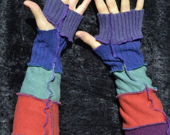 Purple, orange, green, and blue extra-long striped arm warmers
