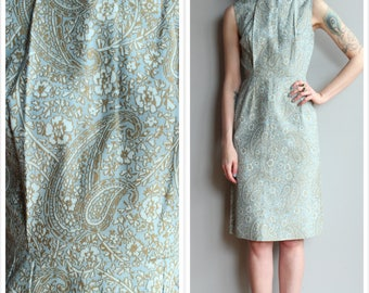 1960s Dress // Icy Blue & Gold Sheath Dress // vintage 60s dress