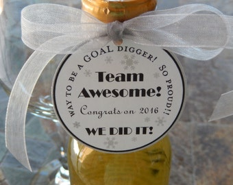 """50 Sales Team Thank You Favor Custom Tags - For Mini Wine or Champagne Bottles - Favor Boxes - 2"""" Business Holiday Gift Tags"""