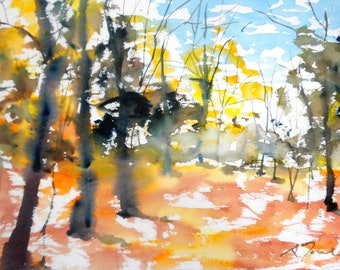New England Fall-Scape No.14, limited edition of 50 fine art giclee prints from my original watercolor