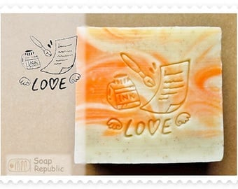FREE SHIPPING! SoapRepublic Love Message Acrylic Soap Stamp / Cookie Stamp / Clay Stamp