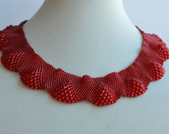 Ruby Red Peyote Woven Various Size Bead Women Necklace, Woven Necklace, Beaded Necklace, Waved Nacklace