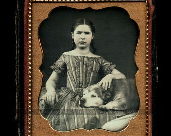 Girl with Braids & Gold Jewelry with Dog / Sealed 1850s Daguerreotype