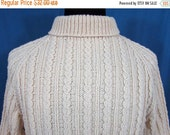 ON SALE Vintage Mens Fisherman Knit Sweater - Wool Cable Stitch - M-L - 1960-70s
