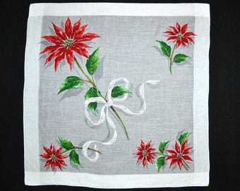 CHRISTMAS HANKIE Spectacular Giant Long Stem Poinsettia on Finest Cotton Embossed Bow 4 More Poinsettia Woven Border Hand Rolled Hem New