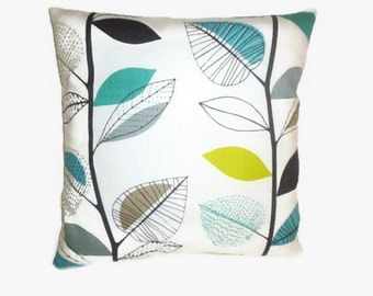 """4 Teal Pillow Cushion Covers Retro Funky Floral Green Decorative Designer Throws Slips 16"""" (40cm)"""