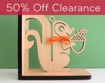 SALE! CLEARANCE 50% OFF! Squirrel Bookend: Wood Modern Baby Nursery Children