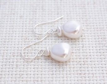 Brides White Keishi Pearls, Swarovski Crystal White Pearls, Wedding White Pearls, Sterling Silver Earrings, Ready to Ship