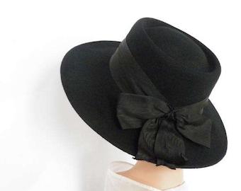 Vintage black hat, 1970s fedora tilt bolero, Street Smart Betmar