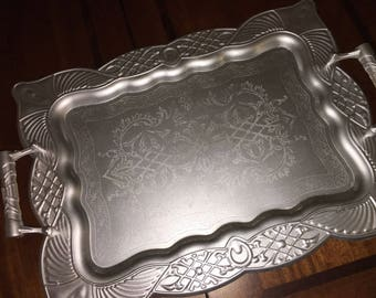 Silver Tray, Large Silver Tray, Silver Serving Tray, Silver Wedding Tray, Wedding Decorations, French Country Decor, Glam Tray Wedding Decor