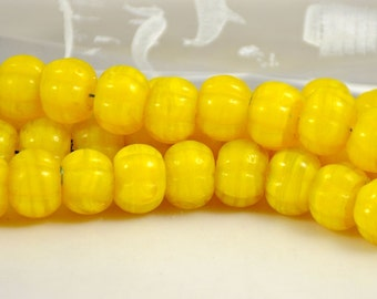 25Beads Melon Lampwork bead , yellow lampwork ,Candy lampwork glass beads Strand For your handwork Jewelry 16mmx12mm