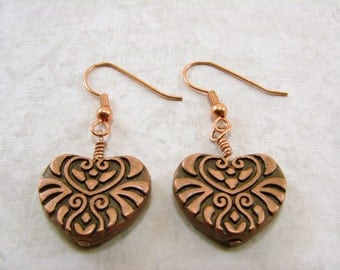 Antique Copper Filigree Textured Heart Earrings