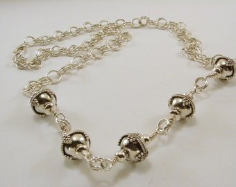 Sterling Silver Bali Bead Necklace, Wire Wrapped Sterling Silver Bali Bead Necklace