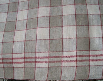 Antique Vintage French 1930's Linen Gingham Check Table Cloth Long Runner taupe and red
