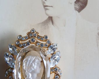 Regency Style Reverse Carved Glass Intaglio Brooch with Rhinestones