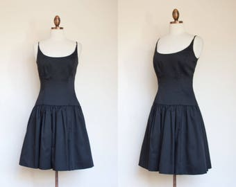 vintage 1980s Victor Costa drop waist black cocktail dress / 80s spagetti strap evening dress with boning in bodice / 4 XS - S